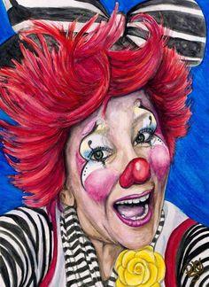 Watercolor Clown #24 Kelly Lynn Diehl AKA Firekracker Kelly 9 X 12 on Canson 140 lb Cold Press paper Original SOLD Prints Available