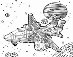 Galaxy Coloring Pages - Best Coloring Pages For Kids Turtle Coloring Pages, Space Coloring Pages, Coloring Pages For Kids, Printable Art, Free Printables, Galaxy Colors, Cute Alien, Spaceship, Nerd