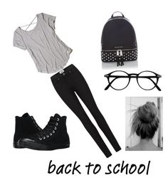 """Back to school🤓"" by abby-gains on Polyvore featuring Hollister Co., Converse, Michael Kors and Paige Denim"