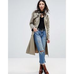 Cooper & Stallbrand Ruffle Front Trench Coat (12.230 RUB) ❤ liked on Polyvore featuring outerwear, coats, cream, ruffle coat, tall coats, pleated trench coat, tall trench coat and cream coat