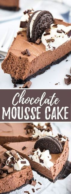 Chocolate Mousse Cake is every chocolate lover\'s dream! An Oreo crust filled with a decadent dark chocolate mousse topped with more Oreos, whipped cream, and chocolate. This no-bake dessert is perfect for special occasions but so easy to make from scratch! #Chocolatemousseeasy