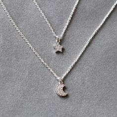 Crescent moon and star necklace silver tiny by YesOrNoDesign