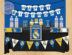 Real Madrid Birthday Party Package Soccer Birthday Party Thank you tag, water bottle label, food card, toppers, banner by shoptheprintable on Etsy