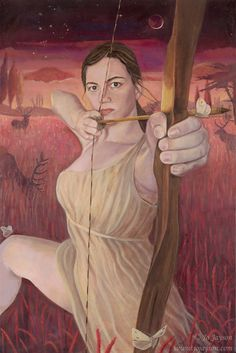 Artemis Maiden of the Hunt  14x21 signed by JoJaysonGoddessArt