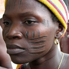 "Africa | ""Holi-Yoruba woman with beautiful facial scarification.  Benin 