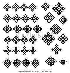 A set of of black and white geometric designs 3. Vector illustration. by MaryMo, via ShutterStock