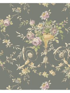Floral Urn Sidewall   From Blooms Book By Ashford House   York Wallcovering.
