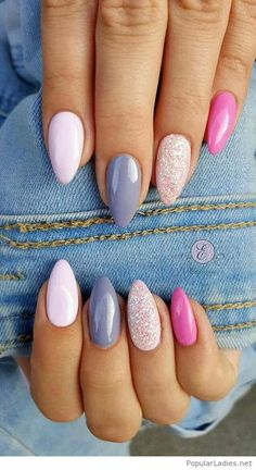 Stiletto nails with blue and pink