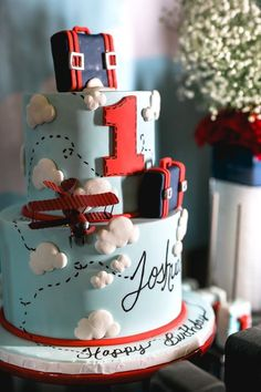 """Airplane cake from a """"Time Flies"""" Airplane Birthday Party on Kara's Party Ideas 