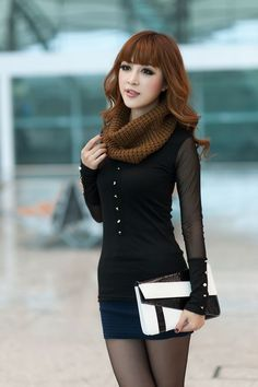 Korean Fashion Gauze Single Breasted T-Shirt with Scarf Black