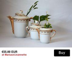 Vintage white and gold porcelain tea or coffee milk sugar set / Collectible Limoges FRANCE art porcelain tableware / 197