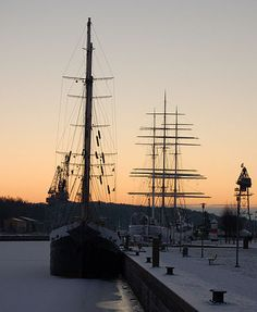 Suomen Joutsen (Swan of Finland) and Sigyn; old sail boats, now museum boats in Turku, Finland