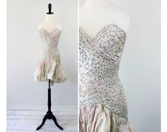 vintage 1980s designer dress // Magical Fairy Tale Dress with All Over Ruching and Rhinestones
