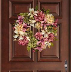 Spring Wreath Front Door Wreaths Dahlia & by HomeHearthGarden Spring Front Door Wreaths, Fall Wreaths, Pink Olive, Olive Green, Green Rose, Outdoor Wreaths, Vides, Wreath Hanger, Wedding Wreaths