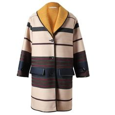BALENCIAGA Oversized Striped Wool-Blend Coat (1,705 CAD) ❤ liked on Polyvore