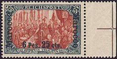 German Colonies, Deutsche Post in Marokko 1900/ 03, 6 Pes. 25 C. auf 5 Mk.-Reichspost (Typ II), ungebrauchtes Pracht-Randstück, nur winzige Falzspur, selten! (postfr., Mi.-Nr.19 I/II /Mi.EUR 2.000,--). Price Estimate (8/2016): 500 EUR.