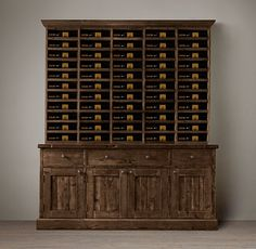 """Restoration Hardware  SALVAGED WOOD VINTNER'S HUTCH  $1595    Special $1195 - $1275  Stout pine timbers, salvaged from century-old European buildings, give this distinctive wine hutch exceptional character.  . DIMENSIONS 76""""W x 9""""D x 57""""H Weight: 169 lbs."""