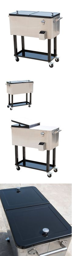 Ice Chests And Coolers 79691: New 80Qt Portable Rolling Stainless Steel  Cooler Cart Ice Chest