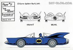 Batmobile model sheet for 1971 Super Friends cartoon