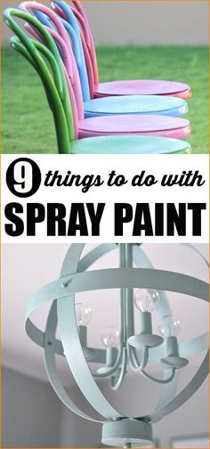 9 DIY projects to do with Spray Paint.  Give your old and less desirable items a make over with a coat of spray paint.  Home improvement ideas.