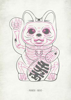 Maneki-Neko® Skull by SOUP , via Behanceu, what a funny idea. I guess no one… Maneki Neko, Image Japon, Art Minimaliste, Arte Sketchbook, Japan Art, Cat Tattoo, Body Art Tattoos, Tatoos, Cat Art