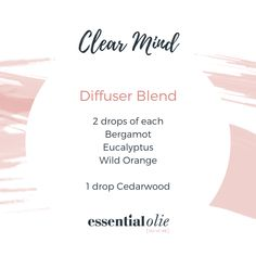 Try Tracey from Essential Olie's Clear Mind Diffuser Blend using pure essential oils. You will feel clear and invigorated. Wild Orange Essential Oil, Pure Essential Oils, Doterra Blends, Essential Oil Diffuser Blends, Diffuser Recipes, Rose Oil, Aromatherapy Oils, Email List, Bergamot