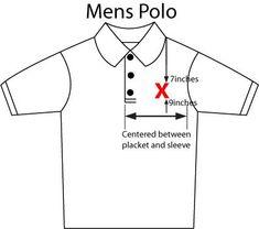 Embroidery logo position on polo shirt.