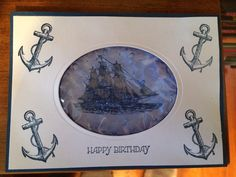 Stampin up Birthday card made with hair gel for MM 2014