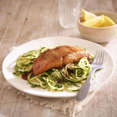 Earl Grey pan glazed salmon with lemon courgetti, a delicious recipe from the new Cook with M&S app. Yummy Mummy, Yummy Food, Tea Recipes, Dinner Recipes, Still Tasty, Spiralizer Recipes, Glazed Salmon, Good Healthy Recipes, Healthy Food