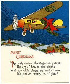 old design shop free printable merry christmas vintage airplane card - Aviation Christmas Cards