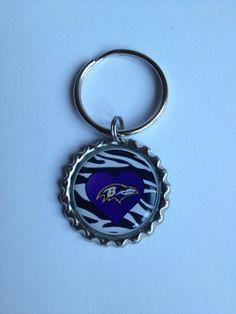 Handcrafted Ravens Themed Zebra Background Flat Bottle Cap Keychain on Etsy, $3.00
