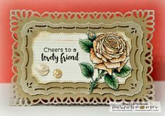 Inky Peach Designs: My English Rose stamp set by Power Poppy, card design by Katie Sims.