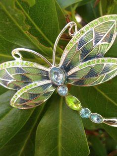 Blue Green Enamel NAPIER Dragonfly Brooch by RenaissanceFair