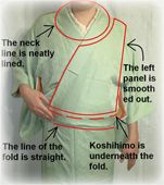 Step by step guide to wearing a female kimono with links to how to tie a male kimono