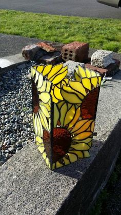 Sunflower stained glass lantern by LoneDireWolfess on DeviantArt Stained Glass Lamp Shades, Stained Glass Flowers, Stained Glass Designs, Stained Glass Projects, Stained Glass Patterns, Stained Glass Art, Stained Glass Windows, Mosaic Glass, Fused Glass