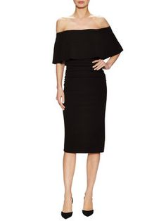 Off Shoulder Flounce Sheath Dress from Get Dressed: Party Under $250 on Gilt
