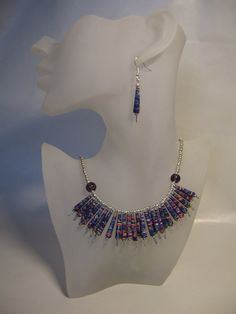 Paper bead necklace and earrings Recycled by kimberlyclarkson