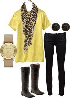Cheetah print and black pants. Love.