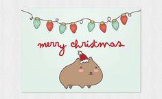 Merry Christmas kawaii Cute Capybara @ Cloudreams