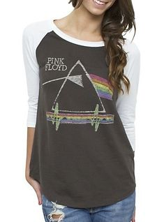 """Yes mom more band T Shirts Pink Floyd """"The Darkside of The Moon"""" Raglan Sleeve By Junk Food Tees / Chic Ego Classic Rock Shirts, Junk Food Tees, Cool T Shirts, Tee Shirts, Concert Shirts, Band Shirts, Pink Floyd Shirt, Cool Outfits, Casual Outfits"""