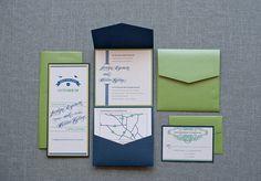@lynda.com Feigenbaum Navy and Green Pocket  Wedding Invitation Suite  by LamaWorks, $8.05
