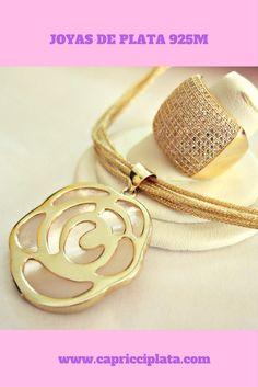 Anillo y colgante de plata 925m chapada en oro #plata #joyas #silver #jewellry #anillos #colgantes #oro #gold #moda #fashion #accesorios #complementos #diadelamadre #tendencia