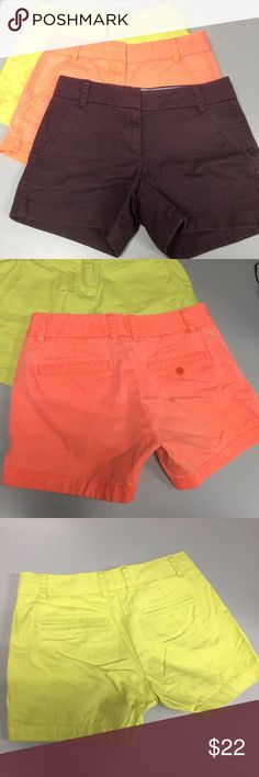 J.Crew 82043 Chino Shorts Lot of 3 Sz 00 Pockets Lot of 3 J.Crew Chino Shorts All Size 00  All measurements below are taken while laying flat  #1 Color - Plum  waist - 13.75\