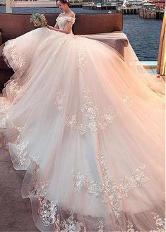Attractive Tulle Off-the-shoulder Neckline Ball Gown Wedding Dress With  Lace Appliques   3D Flowers   Beadings from Fantasy Club528 d4ff36166394