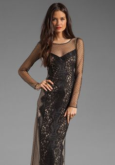 ALICE BY TEMPERLEY Long Lilianna Dress in Black Mix