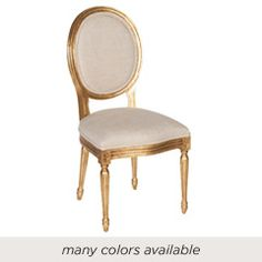 The Cutout Back chair offers comfortable seating in traditional form. With an elegant carved design, creamy linen upholstery, and nailhead trim, this furnishing offers a tailored look to living rooms and dining rooms. 22in W x 22in D x 39in H. Minimum order of 2. Reclaimed wood.