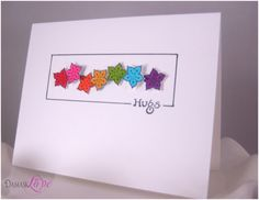Use dimensional adhesive to adhere the flowers at varying heights. Love the interest this adds to a simple card.