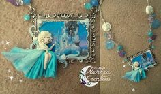 Disney frozen   Cameo Necklace in Fimo Polymer Clay