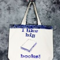 Perfect gift for any Teacher or book lover!  Spray/ splatter painted I like big books bag. Design is in black & navy blue only on one side of the bag. Perfect for school, library, book shop, conventions, trips to the comic shop, as a reusable shopping bag or as a purse.  Natural 100% cotton c...
