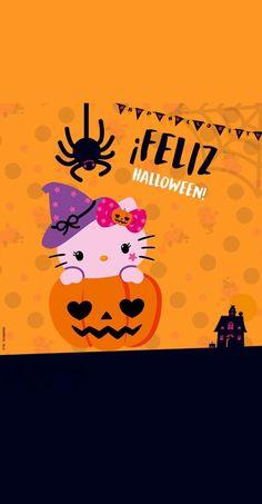 Hello Kitty Spooky Halloween Pictures, Halloween 2, Hello Kitty Wallpaper, Kawaii Wallpaper, Winter Wallpapers, Hello Kitty Halloween, Halloween Wallpaper, Scary, Orange